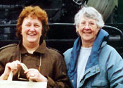 Photo of Melissa Harding and Elspeth Pope. Melissa and her husband founded the Hypatia Trust in Cornwall, England.