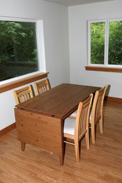Photo of dining area in the Holly House at Hypatia-in-the-Woods.