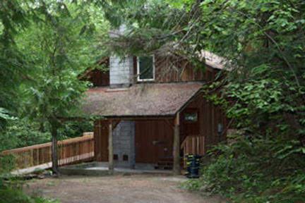 Photo of Holly House at Hypatia-in-the-Woods from the front.